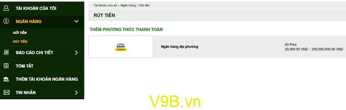 Cách rút tiền V9Bet