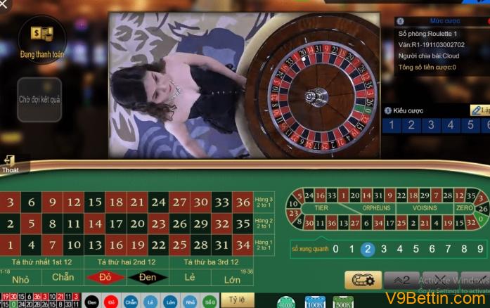 Hướng dẫn chơi Roulette V9Bet