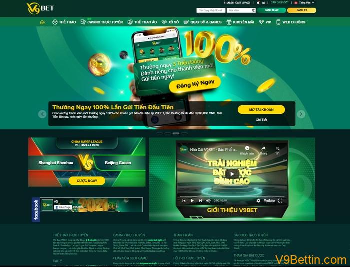 giao diện website V9bet